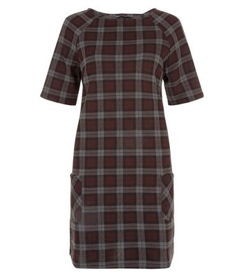 Product photo of Red check double pocket tunic dress