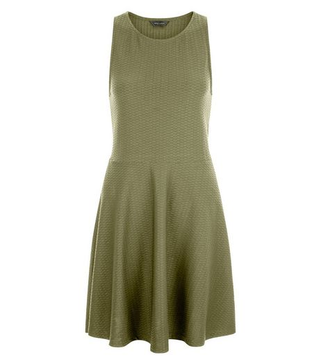 Khaki Jersey Jacquard Sleeveless Skater Dress  | New Look