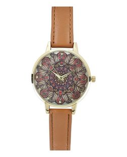 Brown Leather-Look Strap Leaf Print Face Watch  | New Look