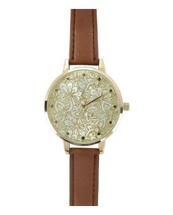 Brown Floral Face Leather-Look Strap Watch  | New Look