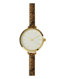 Brown Snakeskin Print Skinny Strap Watch  | New Look