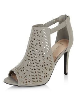 Wide Fit Grey Laser Cut Out Peep Toe Heeled Boots | New Look