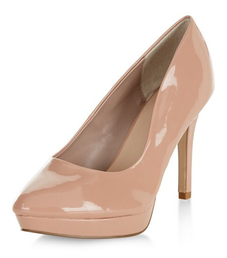 Wide Fit Stone Patent Platform Court Shoes  | New Look