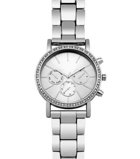 Silver Diamante Sports Watch | New Look