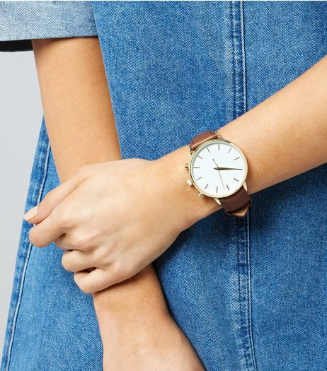 Brown Leather Mini Dial Watch  | New Look