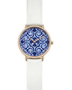 White Mosaic Print Face Watch | New Look