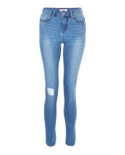 Teens Blue Ripped Knee Ankle Grazer Skinny Jeans | New Look