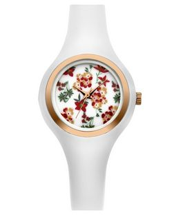 White Floral Print Face Silicone Watch  | New Look
