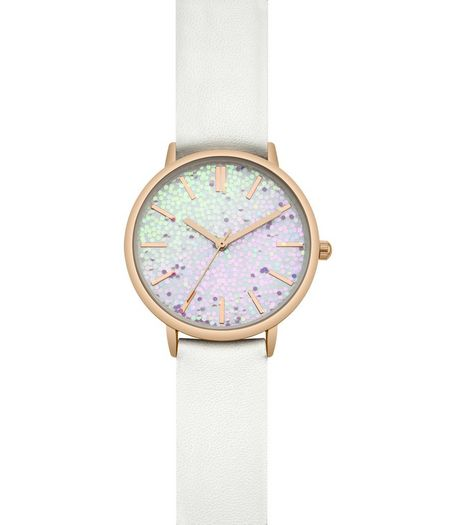 White Glitter Face Leather-Look Strap | New Look