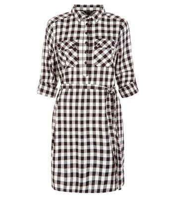 Product photo of White check belted shirt dress