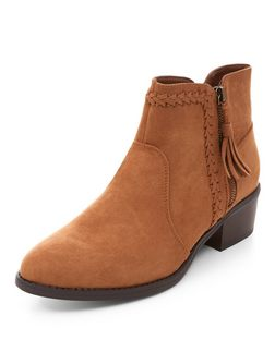 Wide Fit Tan Suedette Plaited Trim Western Boots  | New Look