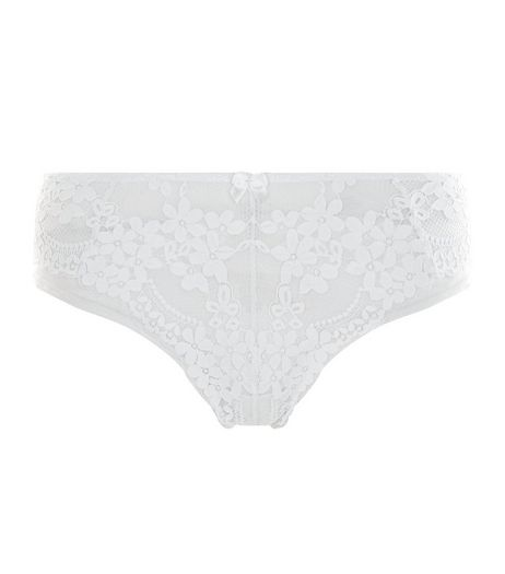 White Daisy Lace Thong | New Look