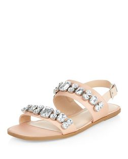 Pink Jewel Embellished Sling Back Sandals  | New Look