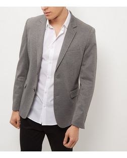 Grey Ponti Textured Blazer  | New Look