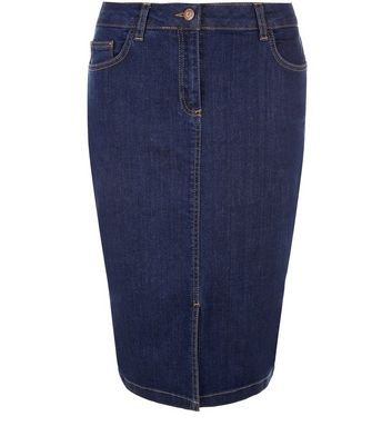 Blue Denim Split Front Pencil Skirt