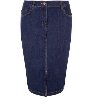 Gonna  donna Blue Denim Split Front Pencil Skirt