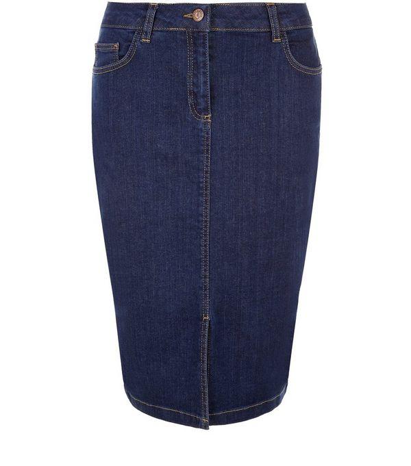 Blue Denim Split Front Pencil Skirt