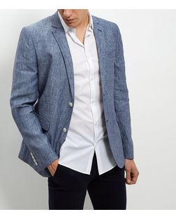 Blue Textured Blazer  | New Look