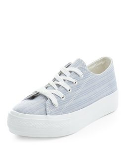 Teens Blue Stripe Lace Up Flatform Plimsolls  | New Look