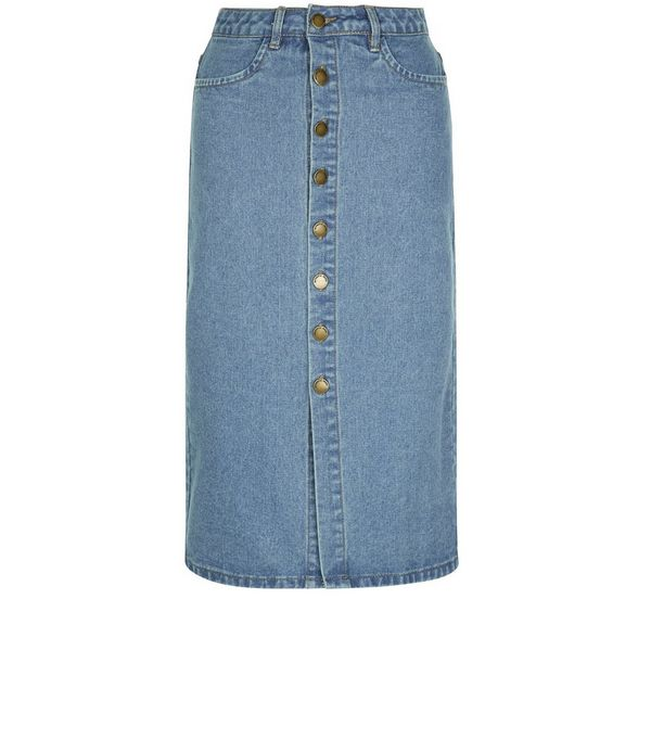 Blue Button Front Denim Midi Skirt