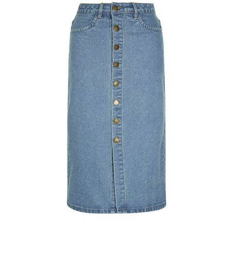 Blue Button Front Denim Midi Skirt  | New Look