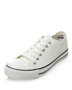 Teens White Lace Up Plimsolls  | New Look