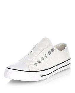 Teens White Crochet Laceless Plimsolls  | New Look