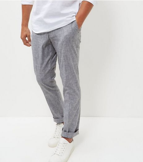 Grey Texture Slim Fit Trousers  | New Look