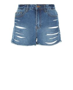 Blue Extreme Ripped Denim Shorts  | New Look