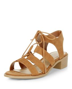 Tan Suedette Ghillie Sandals | New Look