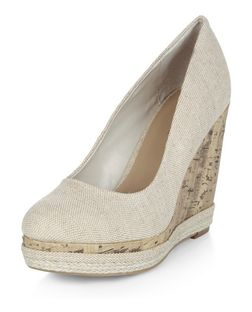 Stone Canvas Cork Wedges  | New Look