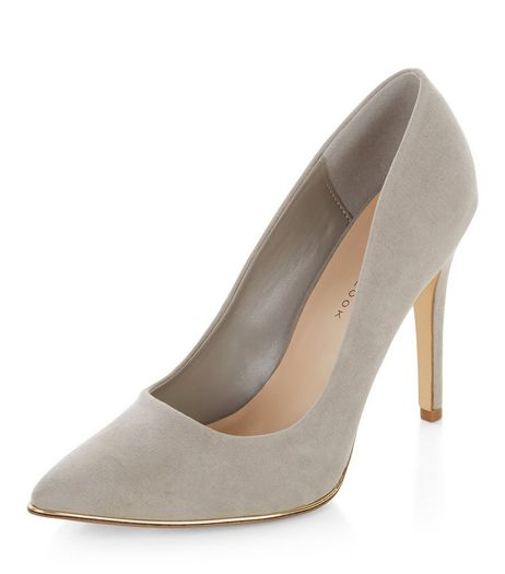 Wide Fit Grey Suedette Metal Trim Pointed Heels  | New Look