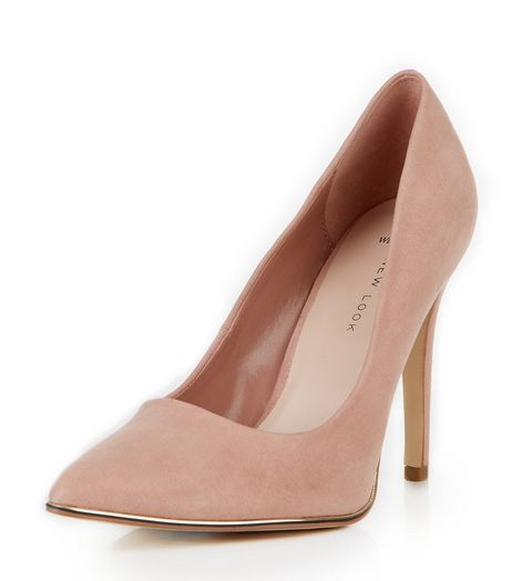 Wide Fit Stone Suedette Metal Trim Pointed Heels  | New Look