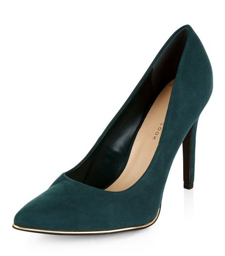 Wide Fit Dark Green Suedette Metal Trim Pointed Heels  | New Look
