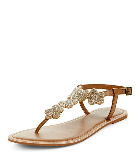 Teens Tan Leather Beaded Flower Sandals  | New Look