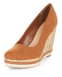 Tan Suedette Cork Wedges | New Look