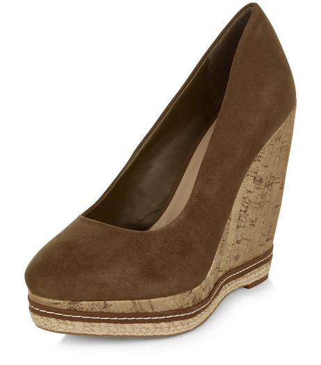 Khaki Suedette Cork Wedges  | New Look