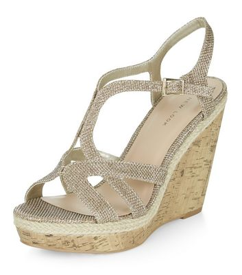 Sandalo  donna Gold Shimmer Strappy Wedge Sandals