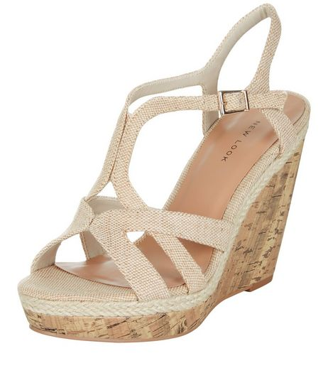 Cream Canvas Strappy Contrast Wedges  | New Look