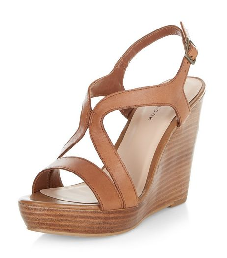 Tan Leather Strappy Wedge Sandals  | New Look