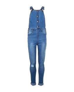 Teens Blue Button Front Denim Dungarees  | New Look