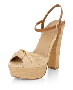 Cream Canvas Knotted Platform Heels  | New Look