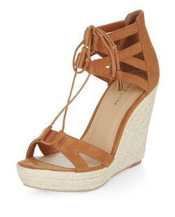 Tan Suedette Ghillie Wedges  | New Look