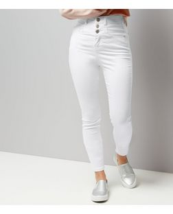 Teens White High Waisted Skinny Jeans | New Look