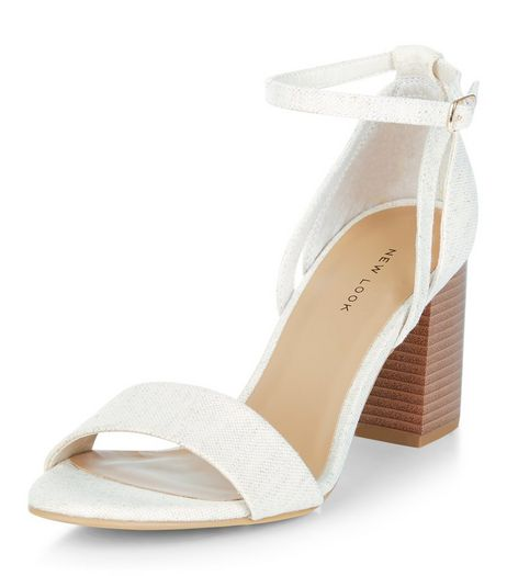 Cream Canvas Contrast Block Heel Sandals  | New Look