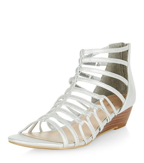 Silver Strappy Wedge Sandals  | New Look