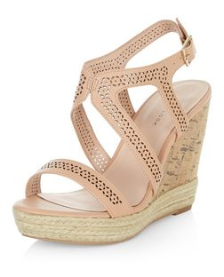Cream Laser Cut Out Strappy Wedge Sandals  | New Look