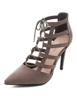 Grey Cut Out Pointed Ghillie Heels  | New Look