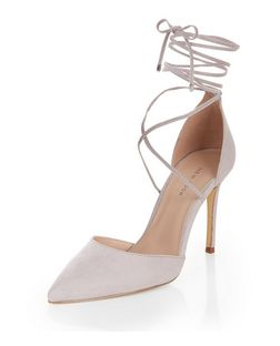 Grey Suedette Lace Up Pointed Heels  | New Look