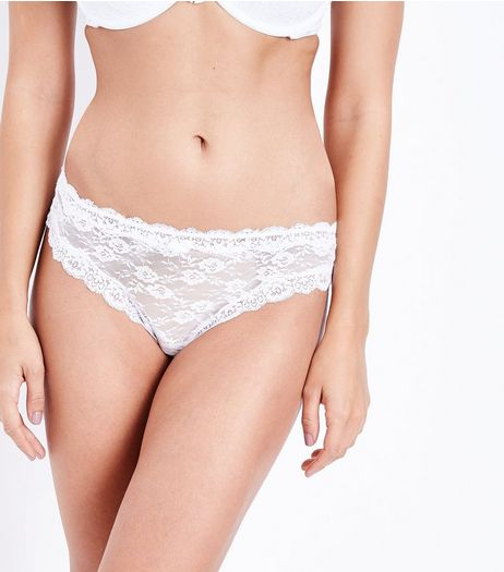 White Lace Thong  | New Look